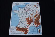 Affiche Scolaire vintage France routes voies Aériennes Chemin fer train 90*75cm
