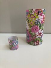 0ba36ccf23d352 Lilly Pulitzer Glass Hurricane Candle Holder and Matching Tea Light