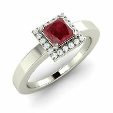 Certified 0.87 Cts Princess Cut Ruby & Diamond 14K White Gold Engagement Ring