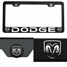 Laser Engraved Dodge Mirror Matte Black License Plate Frame T304 Stainless Steel