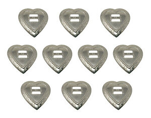10 Silver Framed Heart Metal Western Slotted Conchos Bolo Belt Leather Crafts