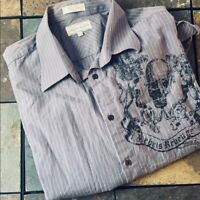 Eighty Eight Men's Casual Button Down Long Sleeve Shirt Grey Pinstripe size XXL