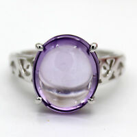 Natural Amethyst Cabochon Fine Ring 925 Sterling Silver Purple Filigree Work