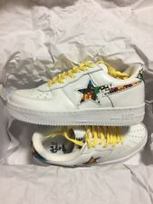 New A BATHING APE BAPE STA Leather Shoes White×Multi Color US 8 With Box C