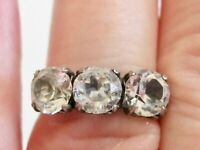 VINTAGE UNCAS ART DECO STERLING SILVER TRILOGY THREE STONE RHINESTONE RING HEART