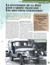 Tank 4X4 Willys Steyr Puch 700 AP Haflinger VLTT Jeep & FICHE FRANCE