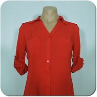 A.N.A Woman's Red Button Front Shirt, Roll-tab Sleeves, size S