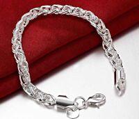 925 Sterling Silver Bracelet Women's Twisted Rope 6mm Opulent + Gift Pkg D135