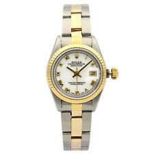 Rolex Datejust Steel 26 No Hole 18K Gold White  Dial Automatic Lady Watch 69173