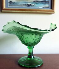 GREEN POPPY 3-Sides Up Early American Pattern Glass Comport* Northwood c. 1908