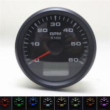 85mm Car Truck Tachometer 6000 RPM Engine Tacho Gauge w/ Hour Meter 8 Color LED