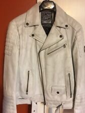 Affliction American Customs - BIKE CUTTER - Men's Leather Biker Jacket  - White