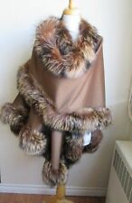 Women's Brand New Taupe 100% Cashmere  Wrap Cape with Silver Fox Fur Trims WOW