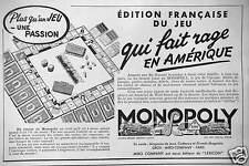 PUBLICITÉ MONOPOLY EDITION FRANÇAISE DU JEU QUI RAGE EN AMÉRIQUE
