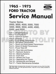 1965-1975 Ford Tractor 2000-7000 Shop Manual Repair Service Book