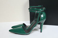 New Alexander Wang Green Patent Leather Emma Ankle Strap Pumps Shoes 7.5 / 37.5