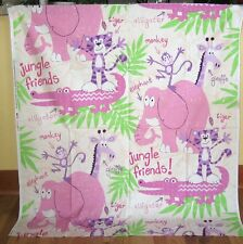 """1 Cute Flannel """"Jungle Friends"""" Quilting Fabric Panel"""