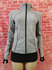 Lululemon Gray white Women's Sweater Jacket Size Fitness Running Yoga Sz 8? (B4)