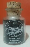Vintage 'We Dig Coal' Decorative Glass Jar with Cork Top Pittsburgh Pennsylvania