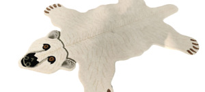 Large White Polar Bear Rug With 100% Woollen, 4x6 feet for Home Décor