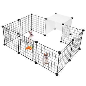 DIY 14 Panel Metal Pet Playpen Dog Puppy Cat Rabbit Exercise Fence Yard Kennel