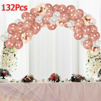 132PCS ROSE GOLD CONFETTI BALLOONS GARLAND ARCH KIT CHROME WEDDING BIRTHDAY