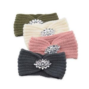 Women Winter Knitting Wool Headband Hairband Crystal Headwrap Hair Accessories