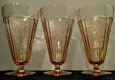 3 Pink Mayfair Open Rose Depression Glass Footed Ice Tea Tumblers Anchor Hocking