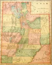 Beautiful Original 1899 Utah Large Color Map/10x14