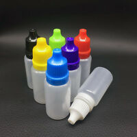 5/10/15ml Empty Squeezable Plastic Dropper Bottles Eye Liquid Screw Cap Lids Set