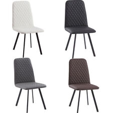 Kitchen Dining Chairs with Diamond Pattern Faux Leather Seat Living Room Lounge