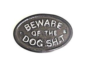 SILVER BEWARE OF THE DOG SH T - DOOR PLAQUE / GARDEN WALL SIGN -BLACK - NEW