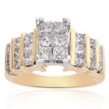 1.50 Carat Princess Cut Diamond Square Cluster Ring 14K Yellow Gold