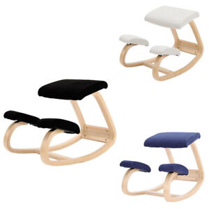 Posture Orthopaedic Padded Seat Stool Office Home Kneeling Chair Wooden Rocking
