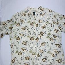 BrunoMens  Button Front Short 2XL Beige Hawaii Print Short Sleeve Short