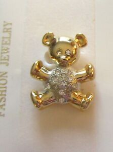Pin/Brooch- TEDDY BEAR- gold &  silver color- clear crystals