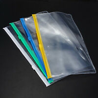 3 X File Folder School Exam Pencil Case Bag Pouch Plastic Clear Transparent MW