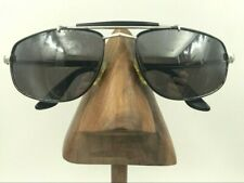 Vintage Safilo T-Force Mirage Black Silver Aviator Pilot Sunglasses Frames Italy