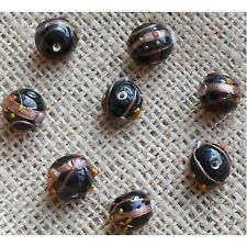 10 HANDMADE INDIAN LAMPWORK GLASS BEADS ~ 13mm Brown Round ~ 38