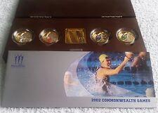 2002 Giochi del Commonwealth PIEDFORT £ 2 Due Pound Argento Proof 4 MEDAGLIA set box & COA