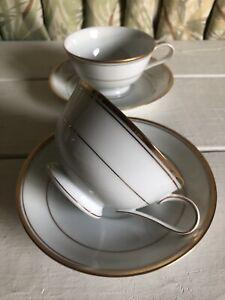 2 Noritake Goldart Coffee Tea Cups & Saucers Set White Gold Trim Ring Japan