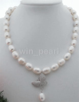 12-14mm White Rice Freshwater Pearl Necklace Butterfly CZ Pendant 20""