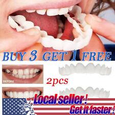 USA 1 Set Upper&Lower Comfort Flex White Fake Teeth Denture False Wide