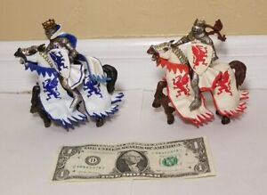 Vtg Papo Medieval Era RED & BLUE DRAGON KING KNIGHT HORSE Figure Lot 2004