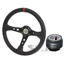 Custom Deep Dish 350mm Steering Wheel Spoke+Mustang Boss Hub Adapter+Horn Button
