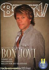 Burrn! Heavy Metal Magazine November 2010 Japan Bon Jovi Tommy Lee Accept