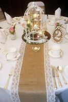 4.26m (14ft) Vintage hessian and lace table runners