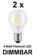 2 x dimmbare 4 Watt FADEN / FILAMENT LED Birne E27, Klarglas Warmweiß 2700K