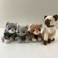 TY Retired Beanie Baby Lot 4 Cats Scat Amber Silver Siam