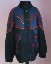 VTG Ladies Unbranded Black Multi Lined Beaded Wool Mix Cardigan Size XL (72e)